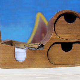 Zettelbox aus Birne mit zwei Schüben (ohne Stift)