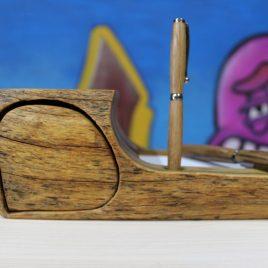 Zettelbox aus Robninie mit einem Schub (ohne Stift)