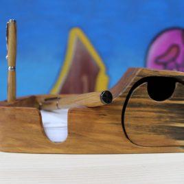 Zettelbox aus Birne mit einem Schub (ohne Stift)
