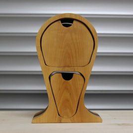 Kopfhörerständer mit zwei Schüben aus Elsbeere-Mahagoni-Multiplex