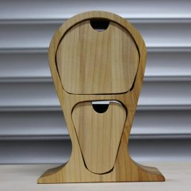 Kopfhörerständer mit zwei Schüben aus Ahorn-Multiplex-Robinie