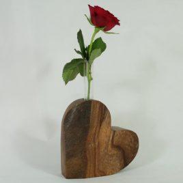 """Vase """"Herz"""" aus Ulme"""